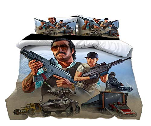 AmenSixye Grand Theft Auto Game 3D Cartoon Duvet Cover Set Twin Full Queen King Size Bedding Set Comforter Cover Bed Linens Home Textile,173x218cm(3pcs)
