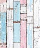 (V Original 4, paquete de 1) Papel tapiz de mural autoadhesivo con veta de madera reciclada y rústica 50cm X 3M (19,6' X 118'), 0,15mm Para revestimiento de restauración de muebles, sala de estar