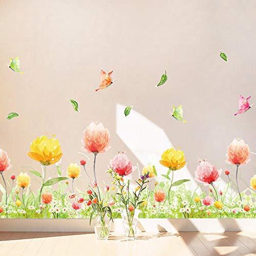 Vinilos decorativos para dormitorio vinilos decorativos mariposa y zócalo floral calcomanías decorativas esquina de ventana