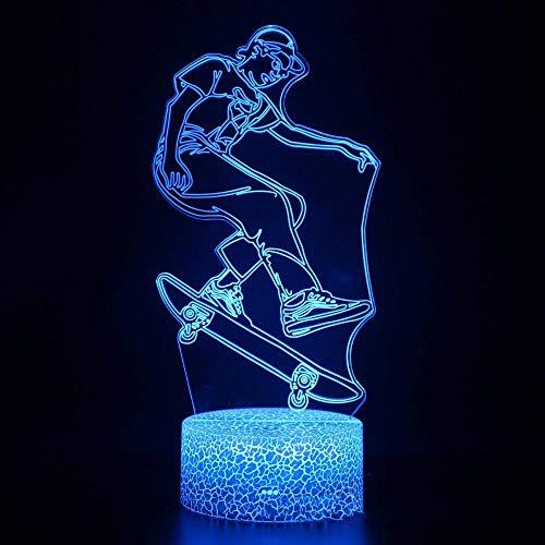 CYJQT 16 Farben Nachtlicht, Bluetooth Lautsprecher, Uhren, Skateboard Sport Menschen, Lampe Nachtlicht Kinder, 16 Farben mit Remote 3D Optische Täuschung Kinder Lampe Weihnachten Geburtstagsgeschenke