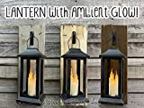 LANTERN Wall SCONCE with 3 ivory taper candles Hanging Lighted Light Battery Operated with 6 Hour Timer Rustic Farmhouse Wood with Hook - Reclaimed Country Distressed Decor - Antique White Gray Brown