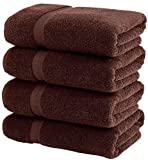 White Classic Luxury Bath Towels Large - Cotton Hotel spa Bathroom Towel | 27x54 | 4 Pack | Brown