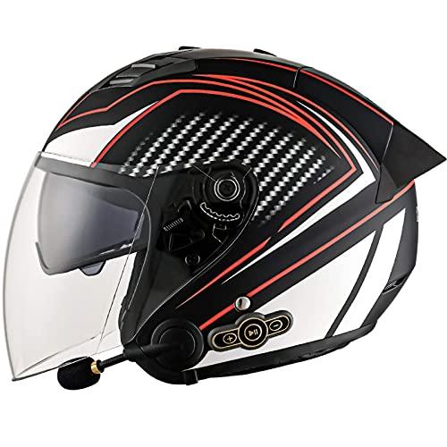 FFYN Motocicleta Scooter Casco Bluetooth Aprobado por el Dot Doble Visera 3/4 Casco de Cara Abierta Casco de Motocross Vintage Moto Medio Casco Adecuado para Hombres Adultos Mujeres E,