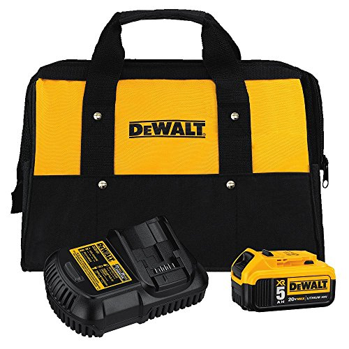 DEWALT 20V MAX Battery and Charger Kit with Bag, 5.0Ah (DCB205CK) Car Battery Charger Set