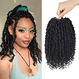 Passion Twist Hair 10 Inch 8 Packs Pre-Twisted Passion Twist Crochet Braids Bohemian Curly Braids Synthetic Hair Extensions 12 Strands/pack(#1B,10 Inch)