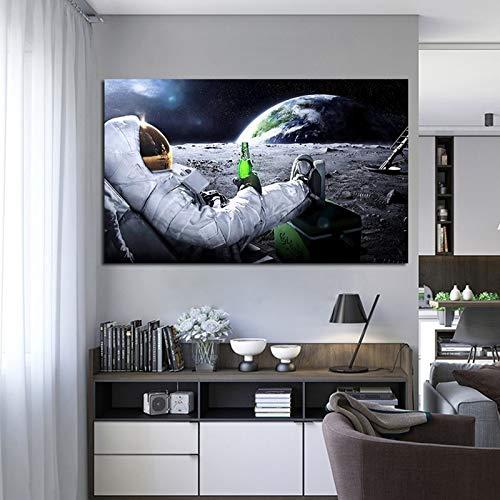 N / A Astronaut Weltall Wandkunst Bilder gedruckt Modern Ölgemälde Leinwand für Wohnzimmer Poster und Drucke Home Decor 20 x 30 cm ohne Rahmen