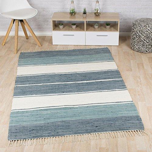 Taracarpet Flachweb-Baumwollteppich handgewebter handweb-Teppich Fleckerl Amrum aus 100% Baumwolle -auch bekannt als Dhurry oder Flickenteppich gestreift blau 060x120 cm