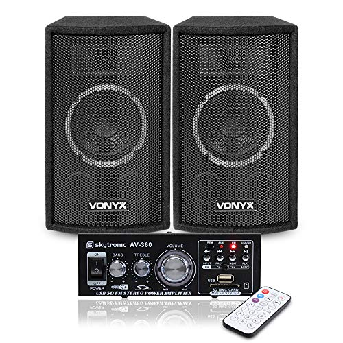 VONYX 2x SL6 6' DJ Speakers + Amplifier + Cables Home Stereo Sound System...