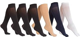 6 Pair Women Opaque Microfiber Stretchy Knee High Trouser Socks-asst2