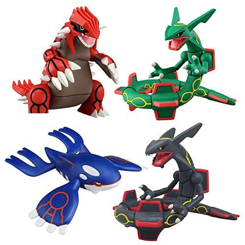 zzdgfc 4 Stück Pokemon Figur Sonne Und Mond Kyogre Groudon Rayquaza Actionfigur Modell Spielzeug Anime Figur Puppen Spielzeug Sammlung Geschenke Für Kinder