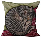 ChezMax Linen Blend Sleepy Cats Pattern Cushion Cover Cotton Pillowslip Square Decorative Throw Pillow Case 18 X 18''