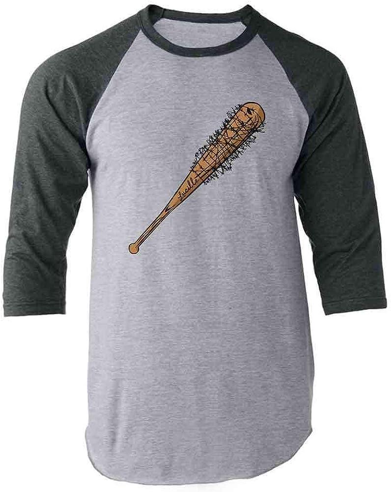 Pop Threads 'Lucille' Barbed Wire Baseball Bat Gray 3XL Raglan Baseball Tee Shirt