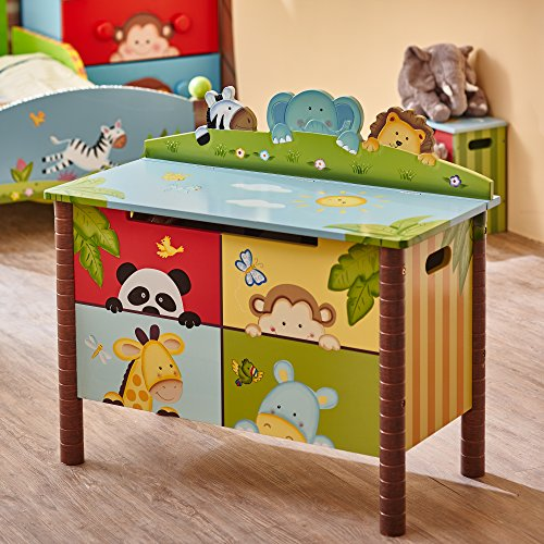 Fantasy Fields Childrens Sunny Safari Kids Holz-Spielzeugkiste W-8269A - 4