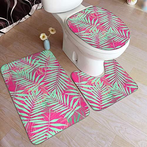 Exotisch patroon voor zwemkleding badkamer tapijt matten Set 3 stuk 50×80cm Anti-Skid pads badmat + contour + wc deksel badkamer antislip pad