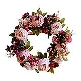 Lumanuby. 1x Blühende Rosa Rose und Pfingstrose Wandkranz für Hochzeitsszenen