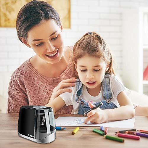 Colored Pencil Sharpener, Electric Pencil Sharpener for Colored Pencils, Auto Stop Helical Blade Pencil Sharpener for Artists, Kids,Battery Operated Pencil Sharpeners for 6-8mm NO. 2 & Colored Pencils Photo #5