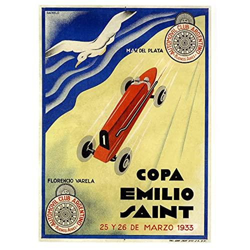 Nbqwdd Cartel Publicitario Vintage Mar del Plata Argentina Race Pinturas Clásicas En Lienzo Carteles De Pared Vintage Decoración para El Hogar Regalo-50X70Cmx1 Sin Marco