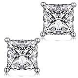 jiamiaoi Pendientes Pendientes de plata Pendientes de CZ diamantes chapados en oro blanco de 18 quilates Pendientes de cristal para mujeres, pendientes para hombres pendientes hipoalergénicos 6 mm
