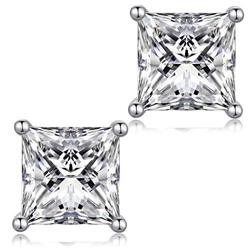 jiamiaoi Pendientes Pendientes de plata Pendientes de CZ diamantes chapados en oro blanco de 18 quilates Pendientes de cristal para mujeres, pendientes para hombres pendientes hipoalergénicos 5 mm