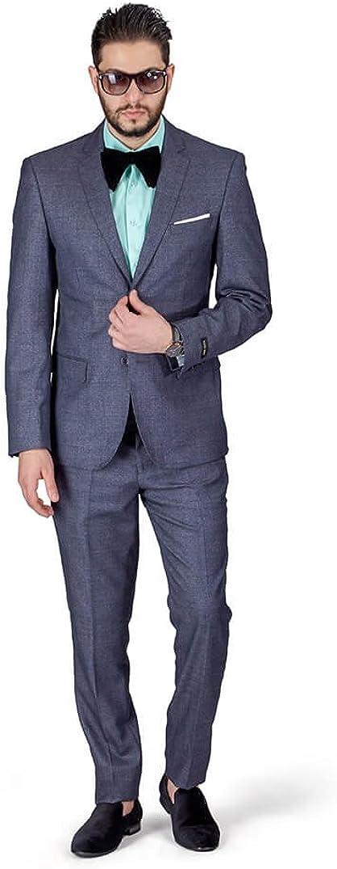 Slim Fit Men Suit Chambray Windowpane Plaid 2 Button Notch Collar AZAR 11826