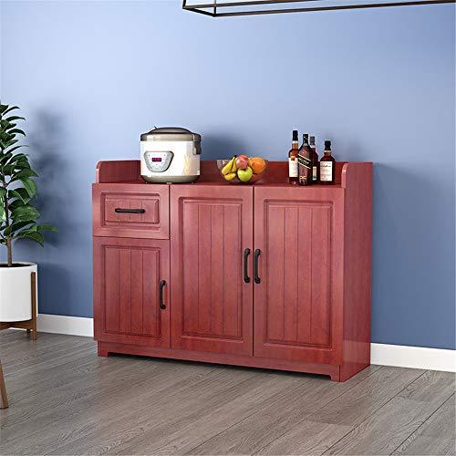 JOMSK Aparador Buffet Servidor Aparador Mesa Consola de Madera Mesa de Comedor Armario Tabla con los gabinetes 1 cajón de la Cocina (Color : Red, Size : 120x40x80cm)