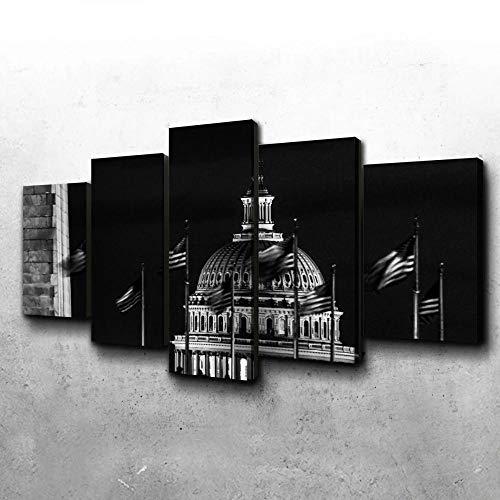 VYQDTNR 5 Piezas Arte de la Pared Colorido Capitolio Cuadros para la Oficina Sala de Estar Dormitorio Decoración, Regalos Creativos, Regalos de Cumpleaños