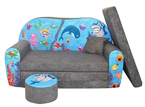 FORTISLINE W319 - Sofá infantil plegable, convertible en cama, con taburete, varios diseños