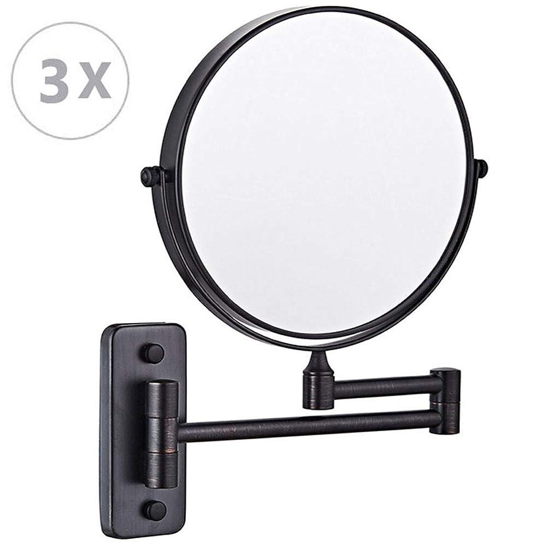 プレビスサイト晩ごはん冒険家8倍の壁掛け化粧鏡、倍率3倍、両面化粧鏡、拡張可能なHD 360°回転式格納式バスルームミラー、照明なし