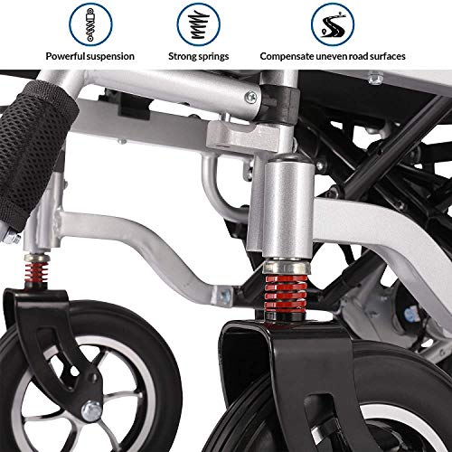 51coMPm1bRL - WISGING 2020 Silla de ruedas eléctrica portátil plegable ligera plegable Deluxe Potente motor twin Silla de ruedas compacta con ayuda de movilidad - Pesa solo 59 lbs con batería - Soporta 286 lbs