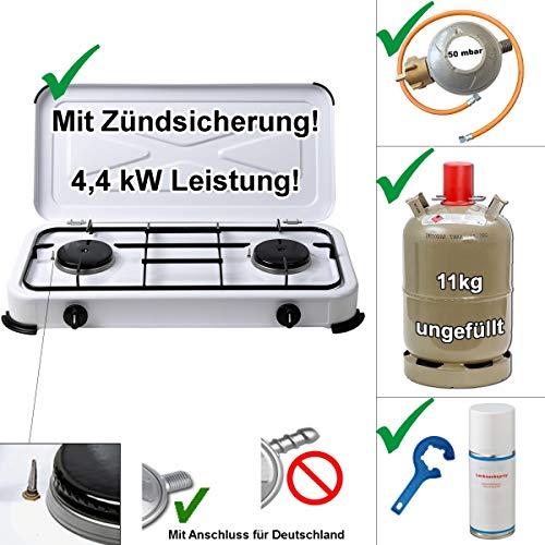 CAGO Camping Gas-Kocher 2-flammig mit Zündsicherung mit Gasschlauch 100 cm, Gasregler 50 mbar, Propan-Gas-Flasche 11 kg ungefüllt/leer, Gasregler-Schlüssel, Lecksuchspray