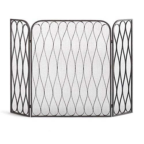 For Sale! ZAQI Black Fireplace Screen, Folding Large Freestanding  Metal Decorative Spark Protectio...