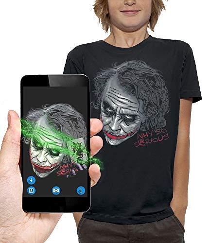 PIXEL EVOLUTION Camiseta 3D The Joker en Realidad Aumentada Niño - tamaño 7/8 años - Negro