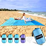 AlphaBeing Beach Blanket Sandproof Water Resistant, Sand Free Mat Oversized Lightweight Nylon Quick Drying Blanket with 6 Metal Stakes- 10'×9' Blue
