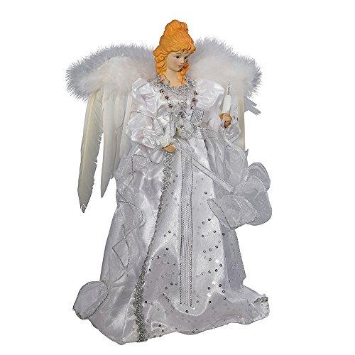 Kurt Adler 14' 10-Light White and Silver Angel Treetop