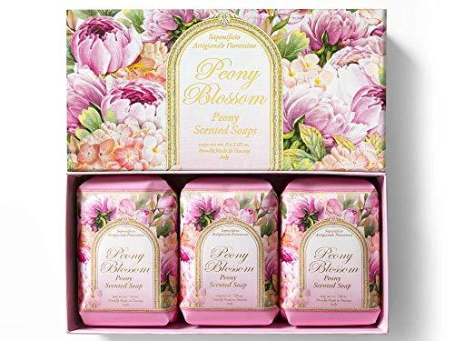 Saponificio Artigianale Fiorentino, Pfingstrosenblüten, Pfingstrosen duftende handgemachte italienische Seife aus Fiorentino, 3 x 200g