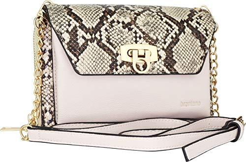 B BRENTANO Vegan Envelope Clutch Wallet Crossbody Purse with Chain Strap (Snake Beige)