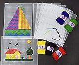 Asian Hobby Crafts Plastic Cross Stitch Kit for Beginners – Make 5 Beautiful Cross Stitch Art Pieces – Plastic Cross Stitch Sheets, Wool Yarn, Plastic Needle