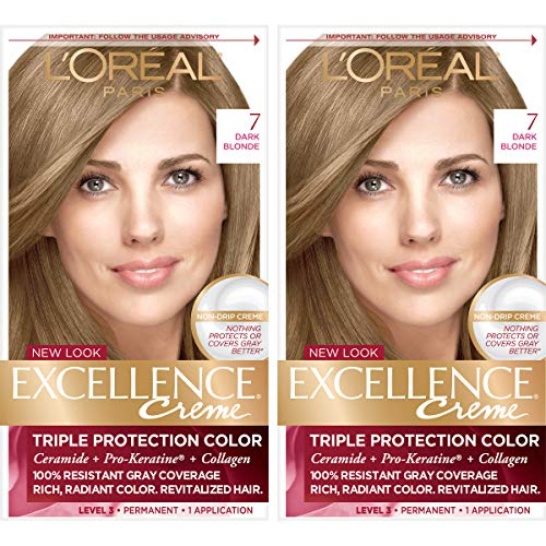 L'Oreal Paris Excellence Creme Permanent Hair Color, 7 Dark Blonde, 100 percent Gray Coverage Hair Dye, Pack of 2