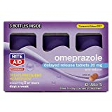 Rite Aid Acid Reducer Omeprazole Delayed Release Tablets - 20 mg, 3 Bottles, 14 Count Each (42 Count Total) - Heartburn Relief - Heartburn Medicine - Treats Frequent Heartburn