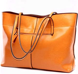 Shoulder Bag New Ladies Leather Bag, Ladies Handbag Shoulder Bag Messenger Bag for Work, Shopping, Dating, Party Handbag Clutch (Color : Orange)
