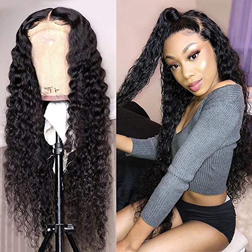Brazilian Wig Water Wave Human Hair Wigs Pre Plucked Lace Front Wig with Baby Hair Virgin Remy Hair Human Wigs Wet and Wavy Human Hair Wig for Black Women 150% Density(22 Inch, Natural Color)