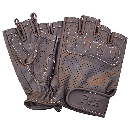 Prime Sports Shop 318 Fingerlose Motorrad-Handschuhe für Fitness, Training, Mode, Bus, Fahren, Rollstuhl, Radfahren, Retro-Rennfahrer M 318 Braun