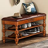 Tribesigns Shoe Bench , Solid Wood Storage Bench Entryway with Lift Top, 2-Tier Vintage Shoe Rack with Seating Tufted Leather Cushion for Foyer , Accent Furniture