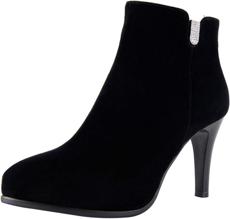 RSHENG Stiefel Damen Wildleder Stiletto High Heel Mode Stiefeletten