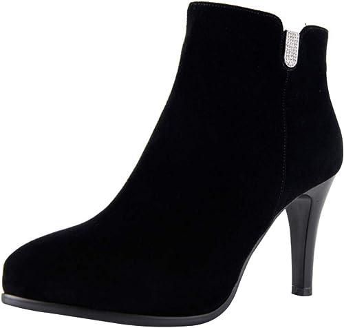 RSHENG Las Stiefel Botines De Moda De Tacón Alto De Tacón De Aguja De damen
