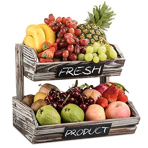 Cesta de Frutas Rústica de Madera de 2 Pisos con Pizarras, Organizador de Frutas de Cocina Decorativo para Verduras, Frutas, Alimentos y Aperitivos