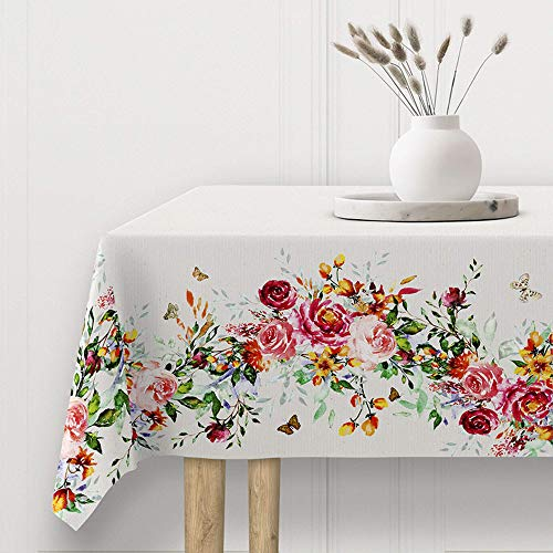 Viste tu hogar Mantel Impermeable Resinado, Mantel para Mesa 140x140 CM, Ancho y Resistente, Ideal para la Decoración de Mesa y Fechas Especiales, Diseño Floral
