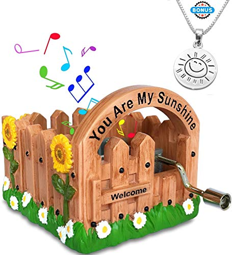 J JHOUSELIFESTYLE You are My Sunshine Music Boxes, Hand Crank Music Box Plays You are My Sunshine, Great Wooden Music Box for Daughter, Mini Music Boxes for Girls, Women, Wife