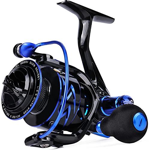 Sougayilang Carretes giratorios, carrete de pesca suave ultra ligero, 6.2: 1 relación de engranajes de alta velocidad, 12 + 1 BB, agua dulce y agua salada carretes de pesca Spinning B30