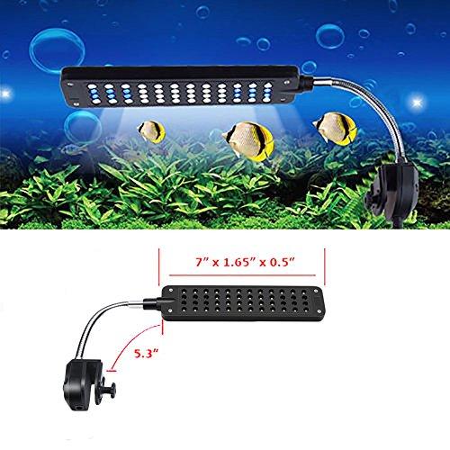 MP power @ Klemmleuchte Clip Lampe Fish Tank Aquarium Beleuchtung Leuchte Weiß und Blau Licht 48 LEDs Einstellbare Soft Arm Schwarz - 2